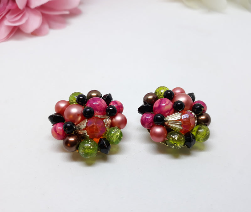 Vintage Fruit Salad Cluster Earrings - Pink, Red, Green Black - Stunning 1950s