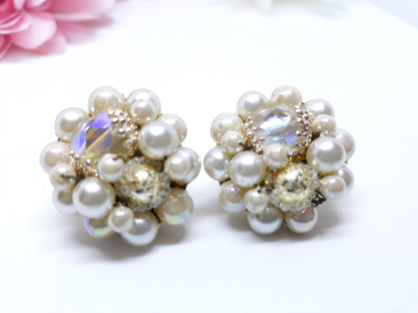 Vintage Wedding Clip-on Earrings, White Sugar Beads, Faux Pearl and Gold Tone