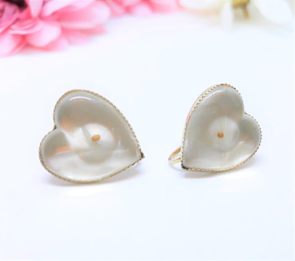 Stunning CORO Clear White Heart Lucite Earrings, 1960s