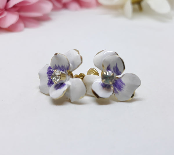 Stunning Vintage 1960's Iris Earrings - White and Purple, Screw Backs