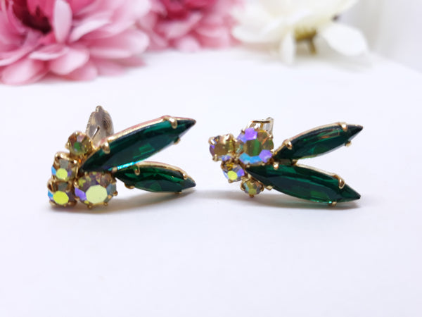 Stunning High End Emerald Green Marquis and Aurora Borealis Clip-on Earrings