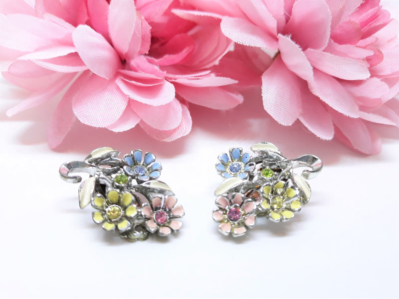 Vintage 1960's Floral - Blue, Yellow and Pink Clip-on Earrings