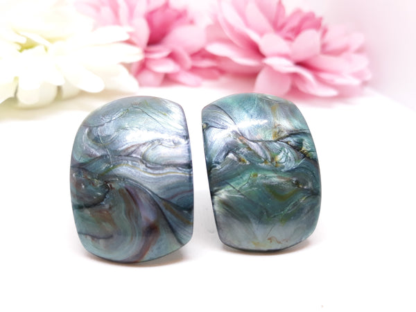 Eye-Catching Large, 1960s-70s Green Marble Statement Clip-on Earrings