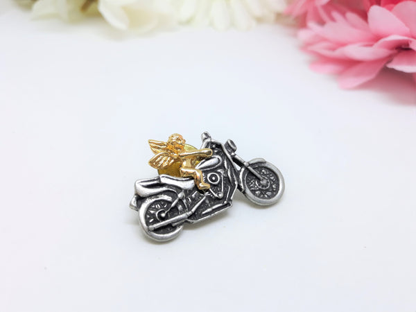Angel Riding a Motorcycle Lapel or Jacket Pin - Wear for Protection