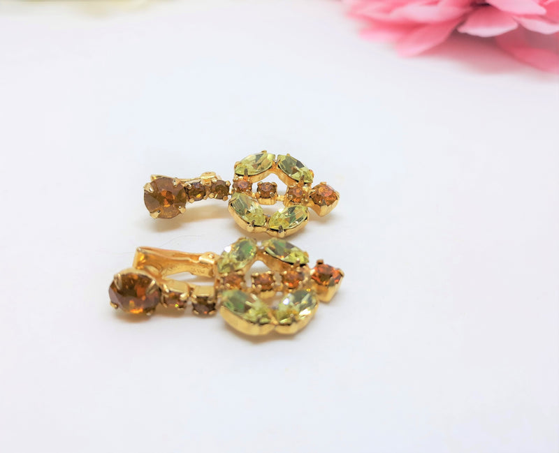 Dazzling Vintage Citron and Amber Rhinestone Heart Shaped Clip-on Earrings