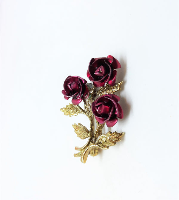 Vintage Rose Bouquet Brooch - Gold Tone and Dark Red
