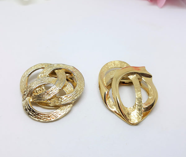 Two Vintage Scarf or Dress Clips - Vintage, Gold Tone - Circular and Geometric Shaped