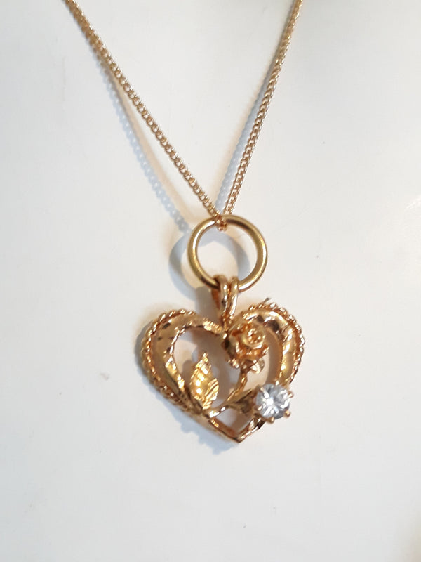 Gorgeous Gold Heart with Rose and Petal and Single Rhinestone - Chain Included