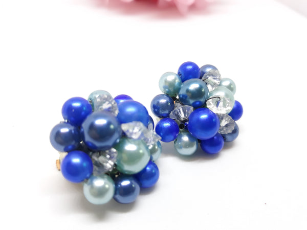 Vintage Blue Fruit Salad Earrings - 1950s, Outstanding Vintage Elegance