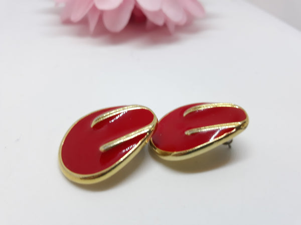 Utterly Elegant, 1980s - 1990s Pierced Red and Gold Earrings