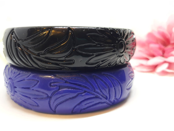 Vintage Inspired Tiki Bangle Pair Royal Blue and Black TIKI bangles - Hawaiian Style