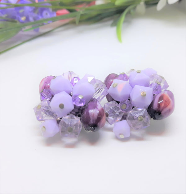 1950s Lilac - Purple Fruit Salad Cluster Earrings - Made in West Germany
