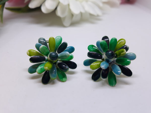 Vintage Ceramic Lisner Clip-On Earrings - Green and Blue