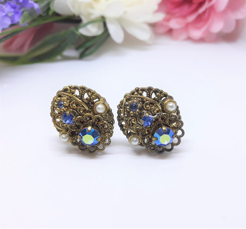Vintage Blue Rhinestone and Pearl Earrings - 1940s-50s ClipOns