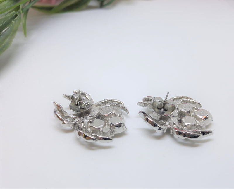 Large Rhinestone Spider Earrings or Clips - Pierced 1980s does 40s
