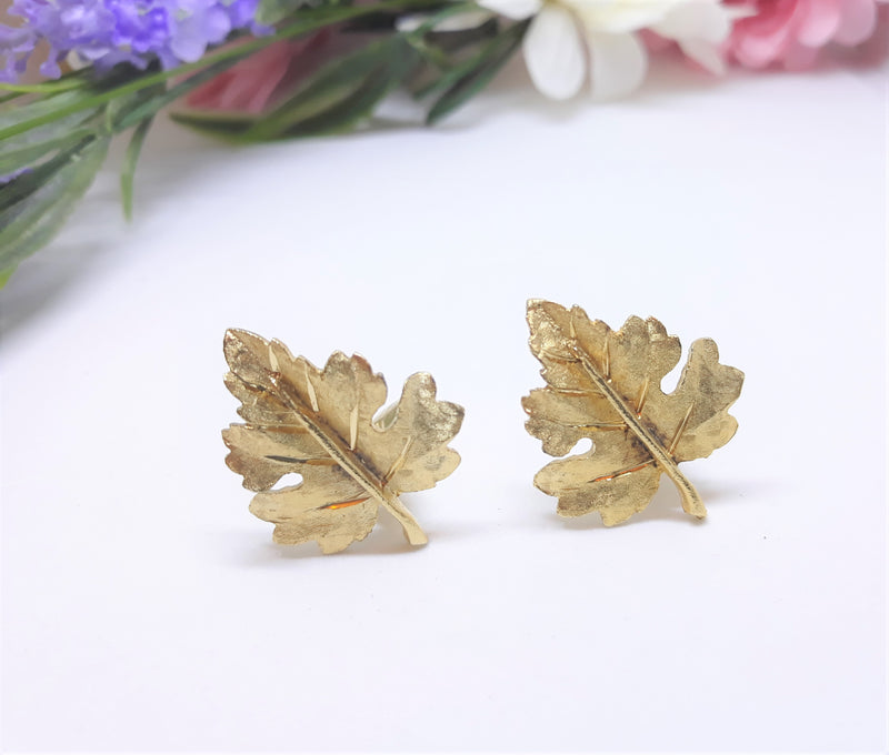 BSK Signed Brushed Gold Leaf Earrings - Clip-Ons  1960s