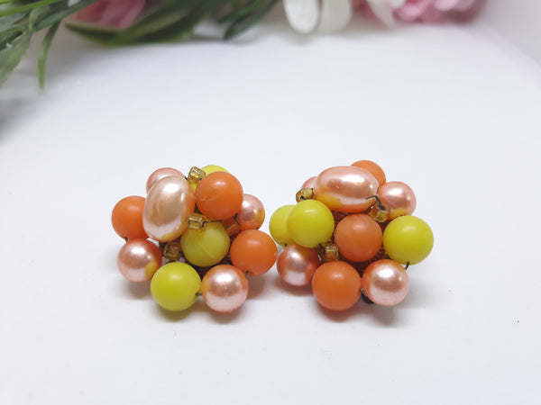 Fruit Salad Pink, Orange, Yellow - Vintage Made in Japan 1950s Clip-on Earrings