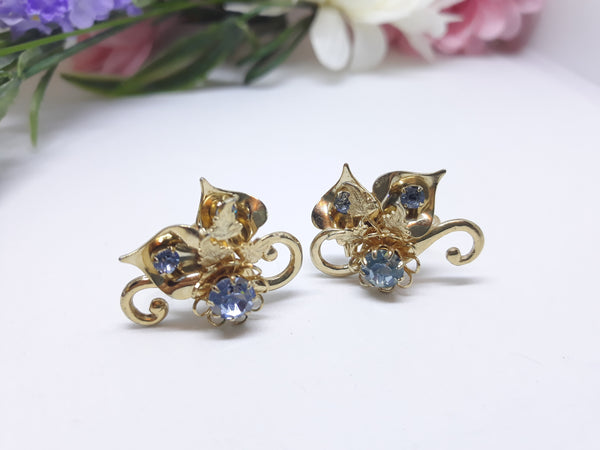 Gold & Blue Floral Rhinestone Screw-Back Earrings, 1950s-60s