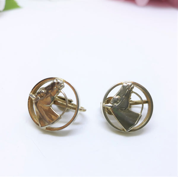 Vintage Gold Tone Horse Clip-ons Earrings - 1960s-70s