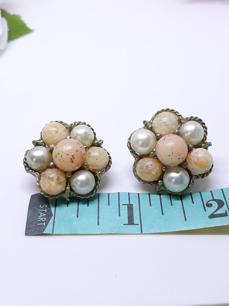 1940s-50s Fruit Salad Confetti Lucite Beaded Clip-on, Cluster Earrings