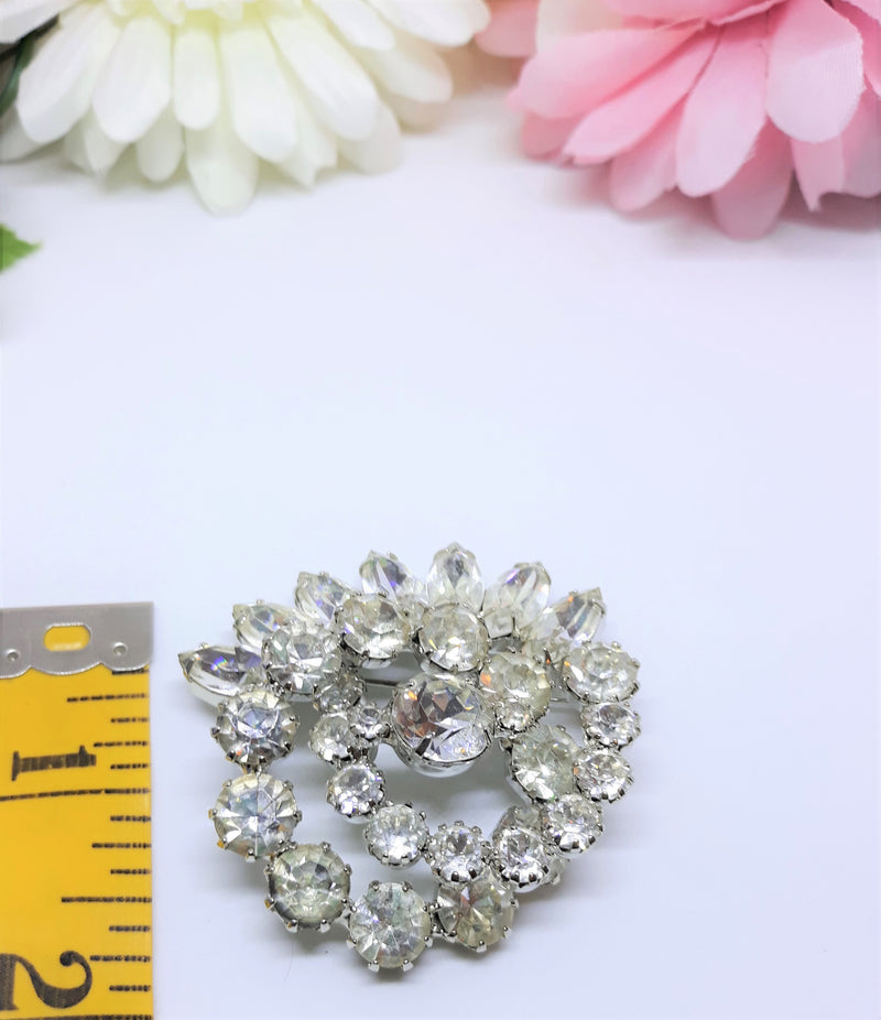 Large 2 Inch Vintage 1950s Rhinestone Statement Brooch - Rhinestone and Silver