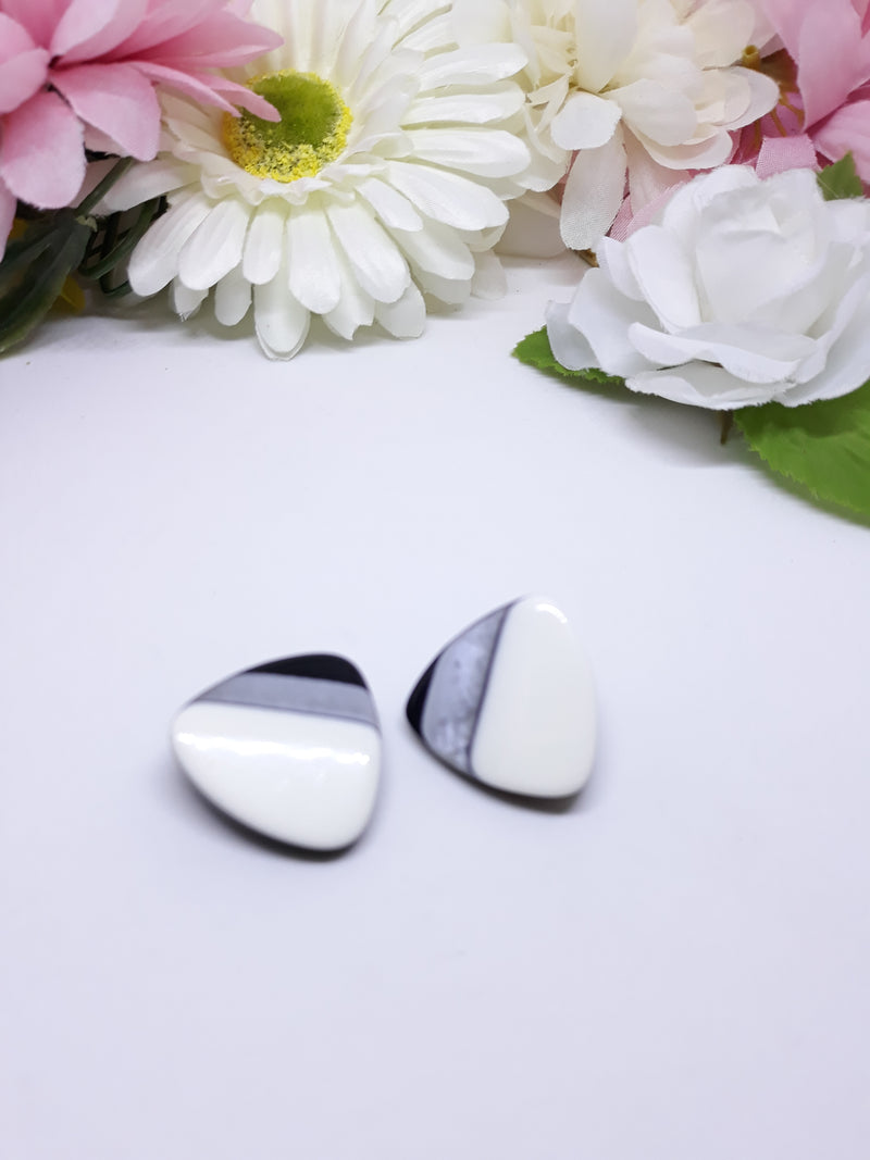 Triangular Black White and Gray Earrings - 1960s - early 70s Mod