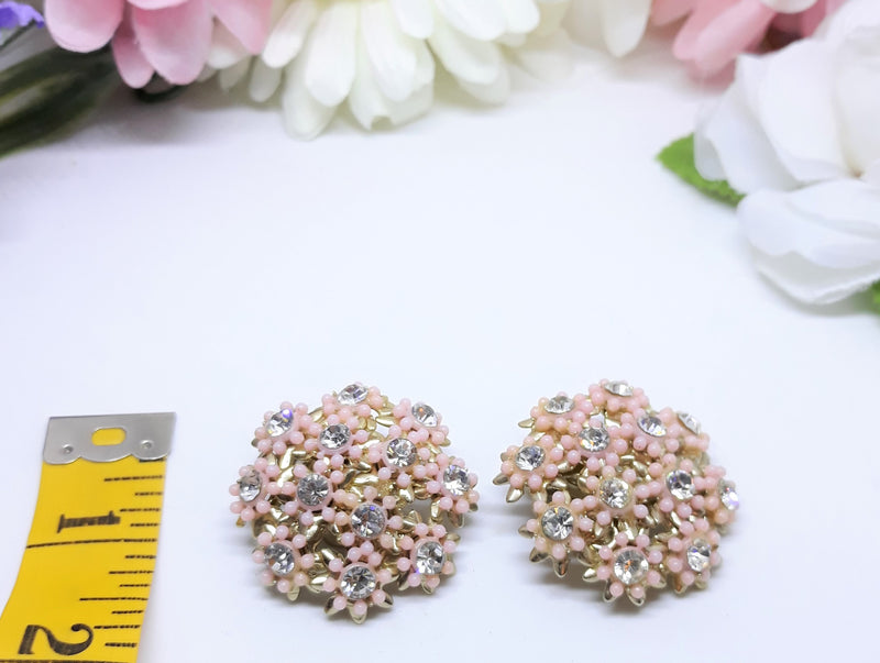 Large Vintage Floral Lucite and Rhinestone Clip-on Earrings