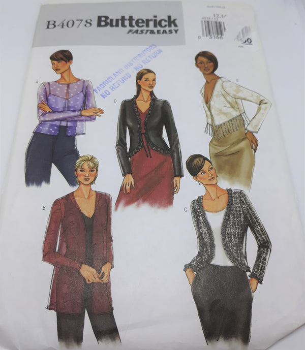 Butterick B4078 Fast and Easy Pattern Size 12-14-16 Light Jacket Pattern