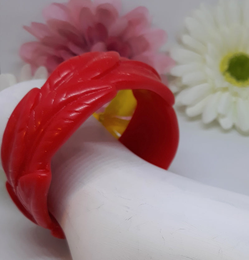 Tiki Bangle - Red Leaf Pattern - Vintage Inspired 1940s-50s Reproduction