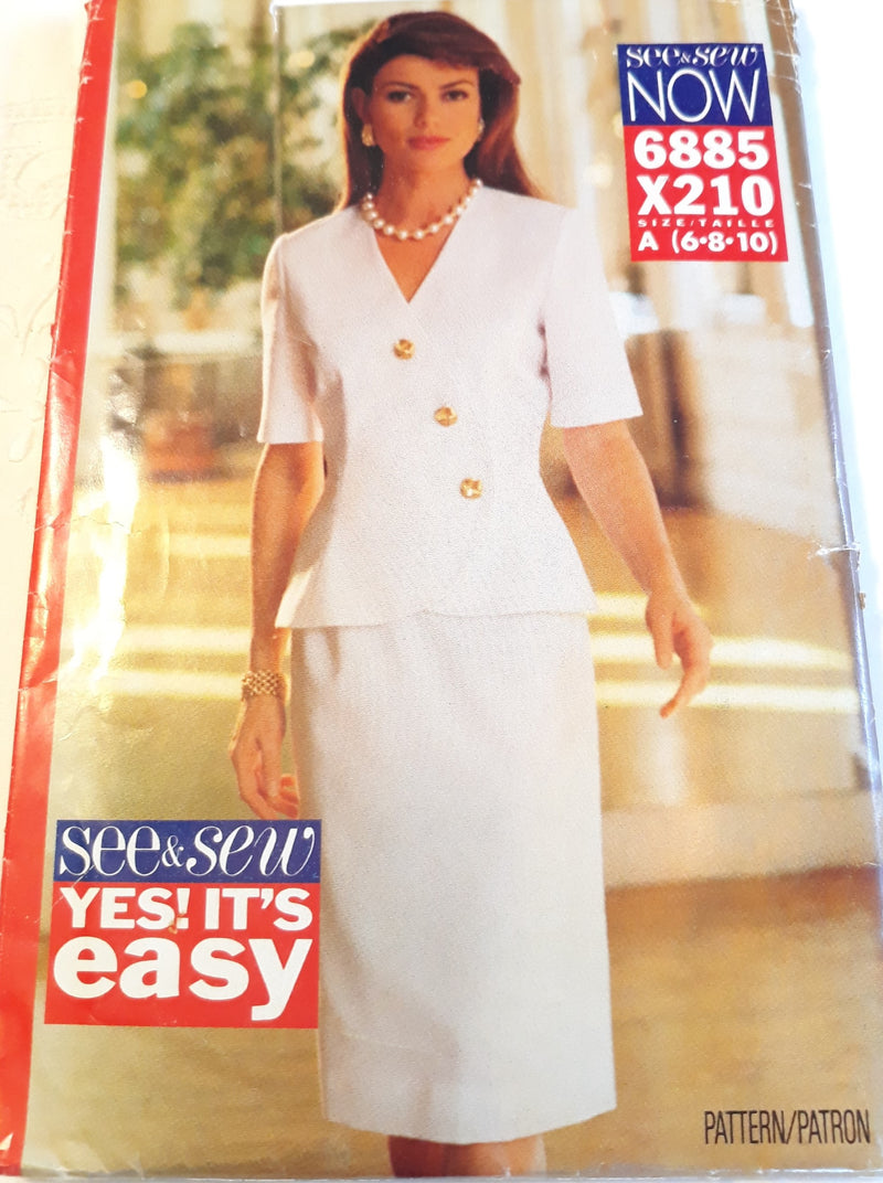 Butterick See & Sew 6885 Size A 6-8-10 1993s Suit Sewing Pattern - Uncut