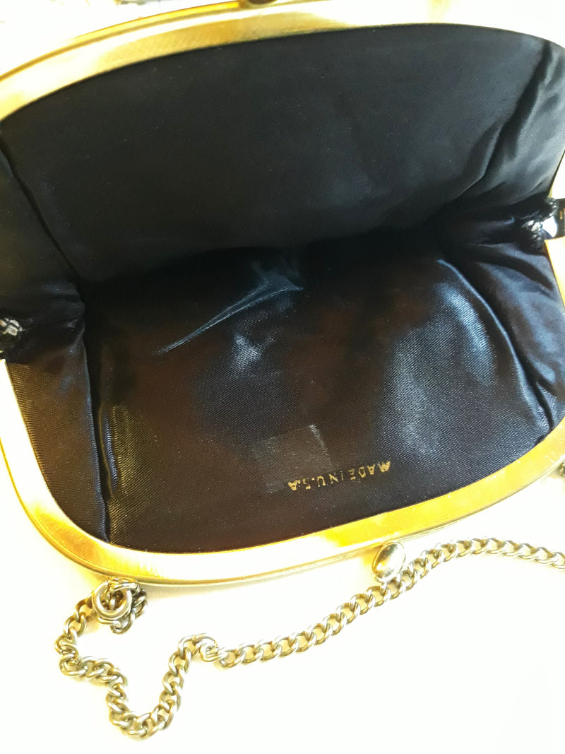 Elegant 1950s Evening Purse - Black, Made in the USA