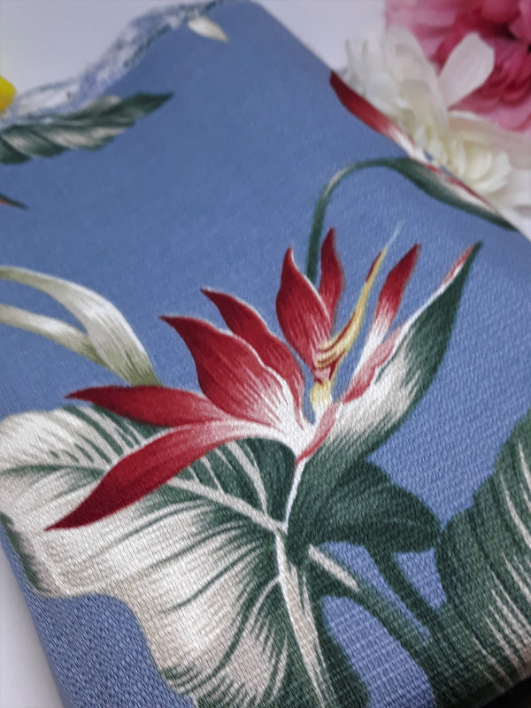 Hawaiian Hibiscus Tiki-Style, Light Cotton Blue Fabric, 1 Yard 44 x 36 inches, OOP