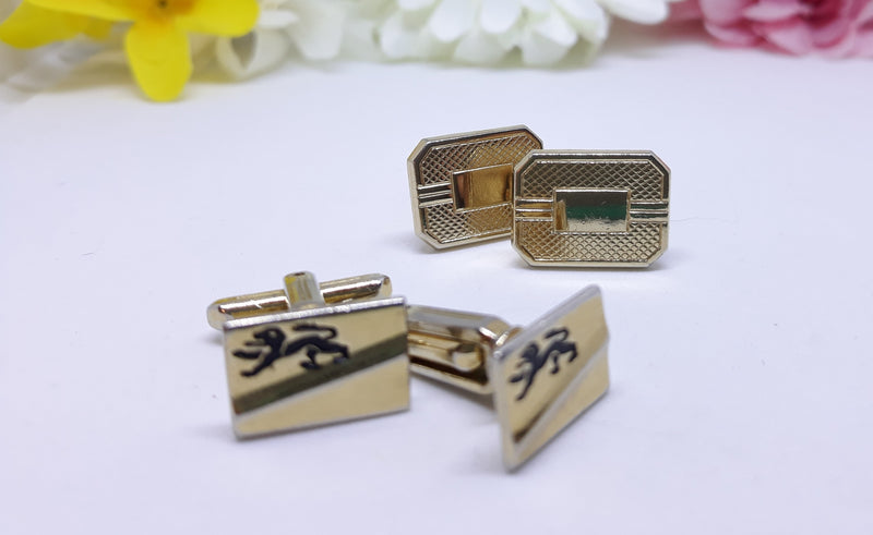 Vintage Men's Cuff Links - Set of two, Dragon Cufflinks, Rectangle Faux Gold, 1960s