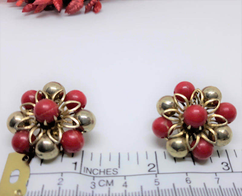 Stunning, Signed Red and Gold Starburst Earrings - Coro Signed