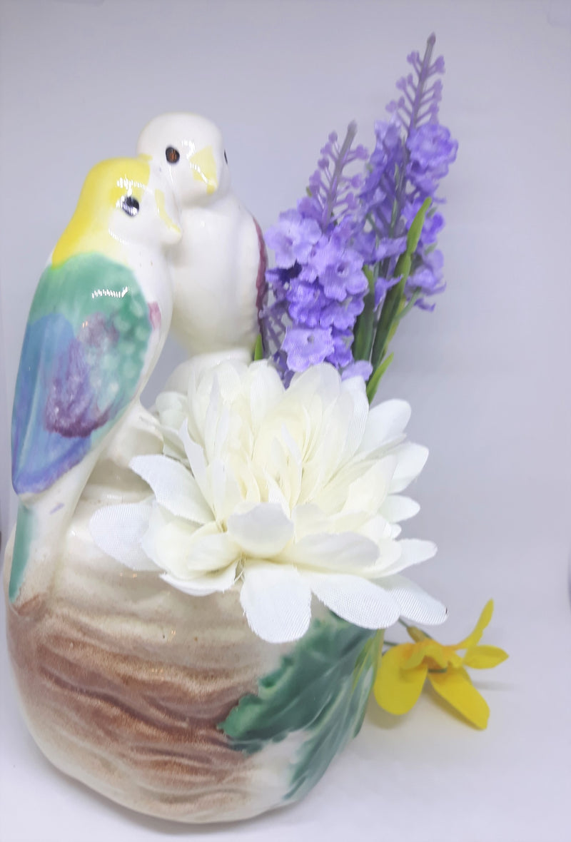 Vintage 1950s Love Birds Planter - Wall Pocket Ceramic Kitsch