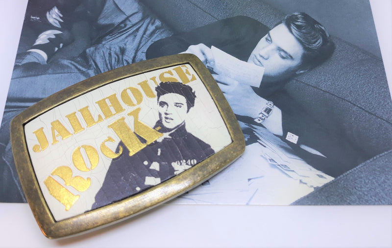 Vintage Elvis Presley Jailhouse Rock Belt Buckle, Approved Merchandise