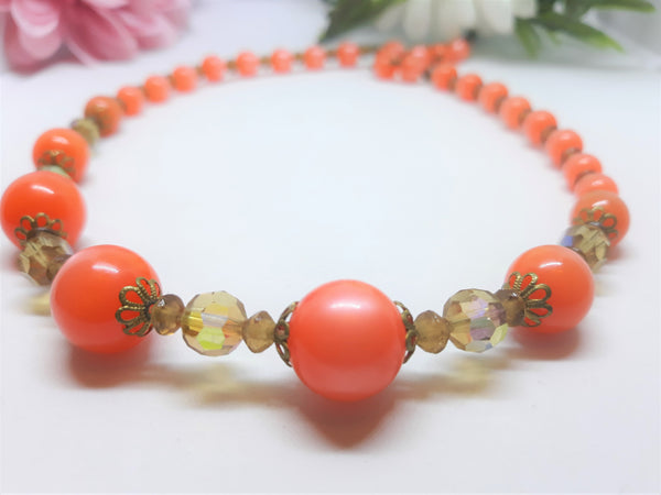 1960s Tangerine Orange Thermoset Beaded Princess Necklace - Mid-Century Glamour