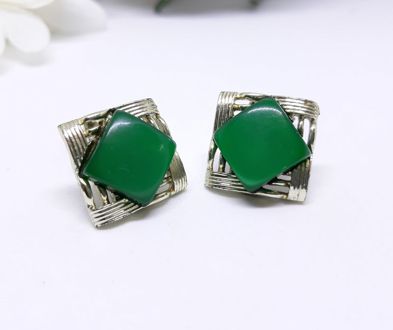 Coro Green Thermoset Clip-on Earrings