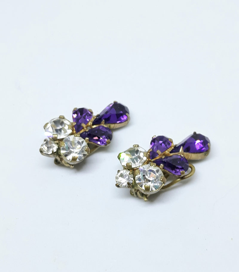 Vintage Purple and Gold. Circa 1930s Clip Earrings