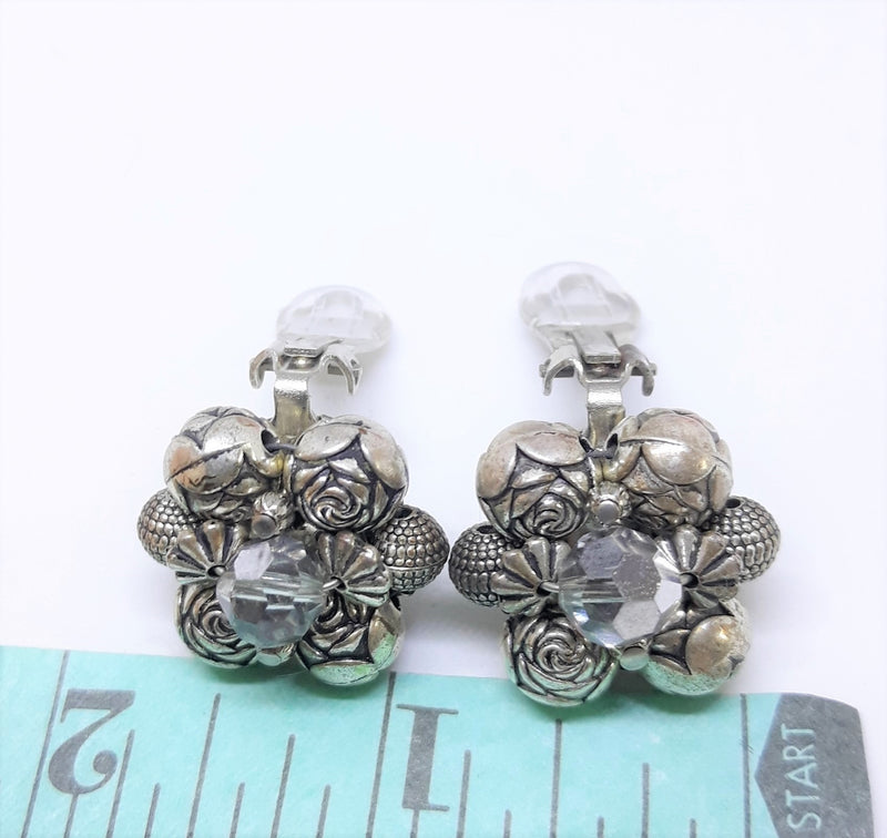 1950s Silver Rose and Aurora Borealis Beaded, Cluster Earrings, Clip-ons