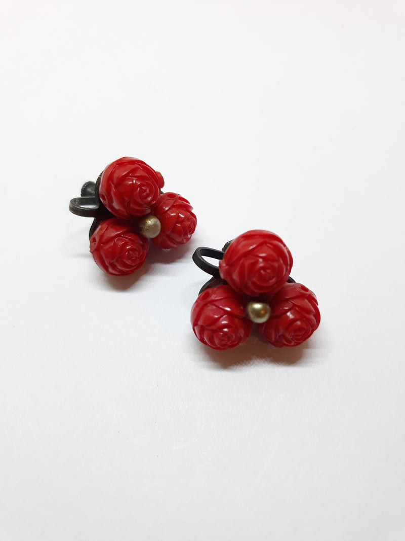 1930s/40s Carved Celluloid, Red Rose or Acorn Shaped Earrings - Unmarked, Rare Colour, Tiki Style