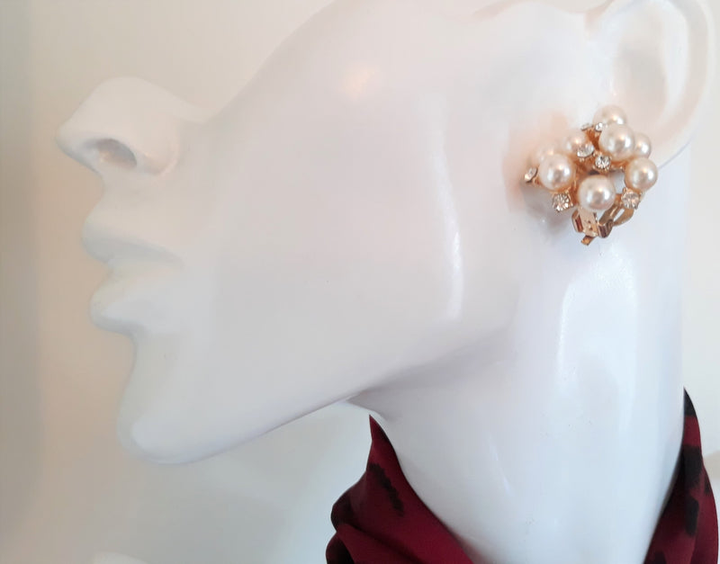 Dazzling White and Rhinestone Cluster Earrings - 1950s/40s - Great for Weddings