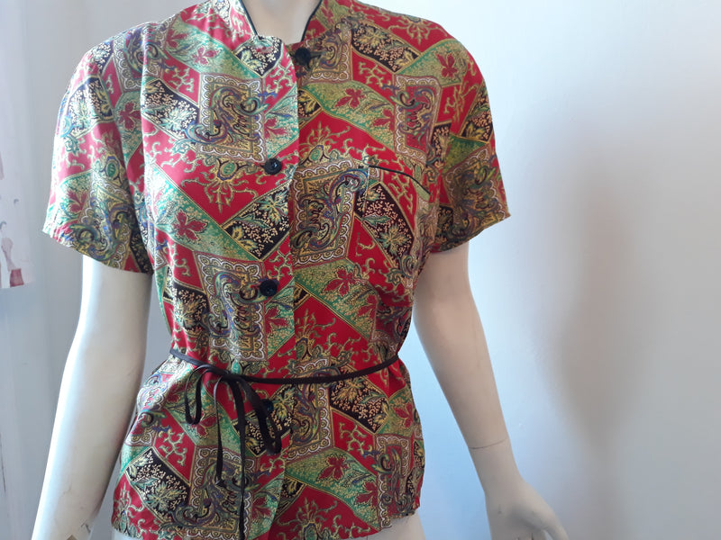 1940s Sleep or Loungewear Rayon Top - Size S/M - In Excellent Condition for Evening Elegance
