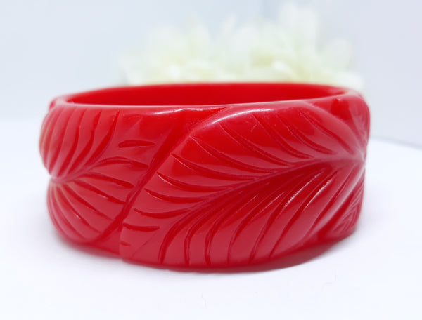 Vintage Inspired, Red Carved Tiki Bangle, 1940s Inspired - NEW