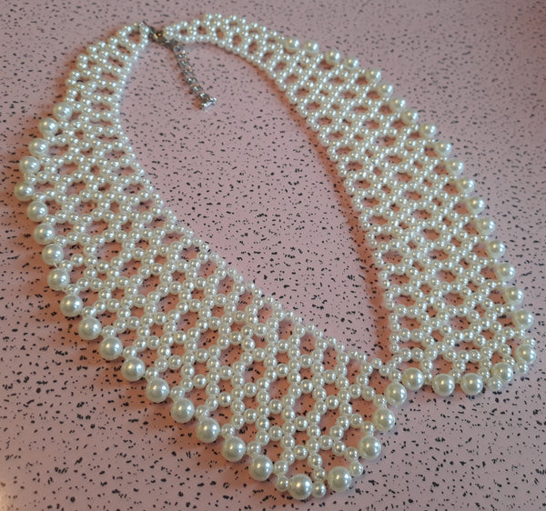Vintage Inspired Pearl Collar Necklace - Ideal for Weddings