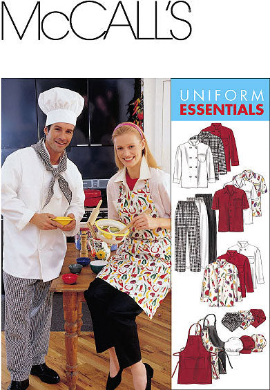 McCall 2233 Sewing Pattern - Uncut - Uniform Essentials - Apron and Sous Chef