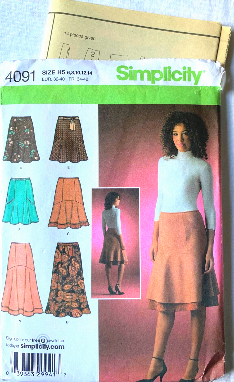 Simplicity 4091 Uncut SKIRT Pattern - Many Lengths Size 6-14