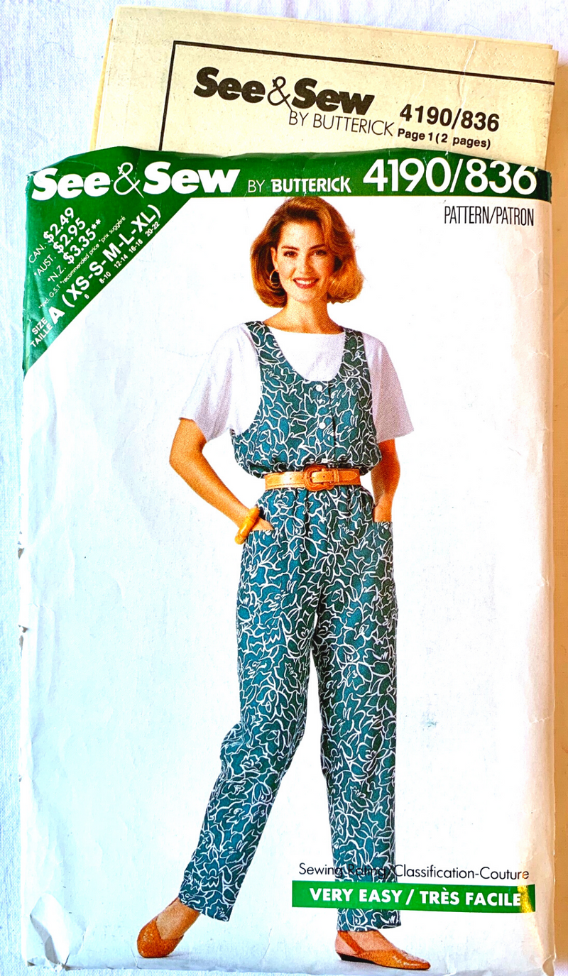 See & Sew by Butterick 4190/836 1989 Pant Suit Pattern S-XL Size - Uncut