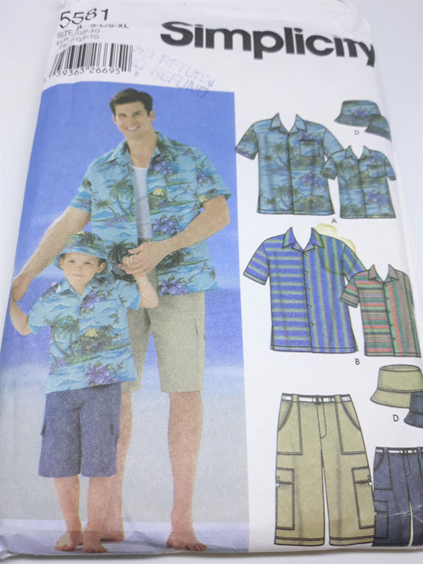Simplicity 5581 Sewing Pattern - Cargo or Tiki Shirt, Shorts and Hat, Uncut - Men/Boys S-XL