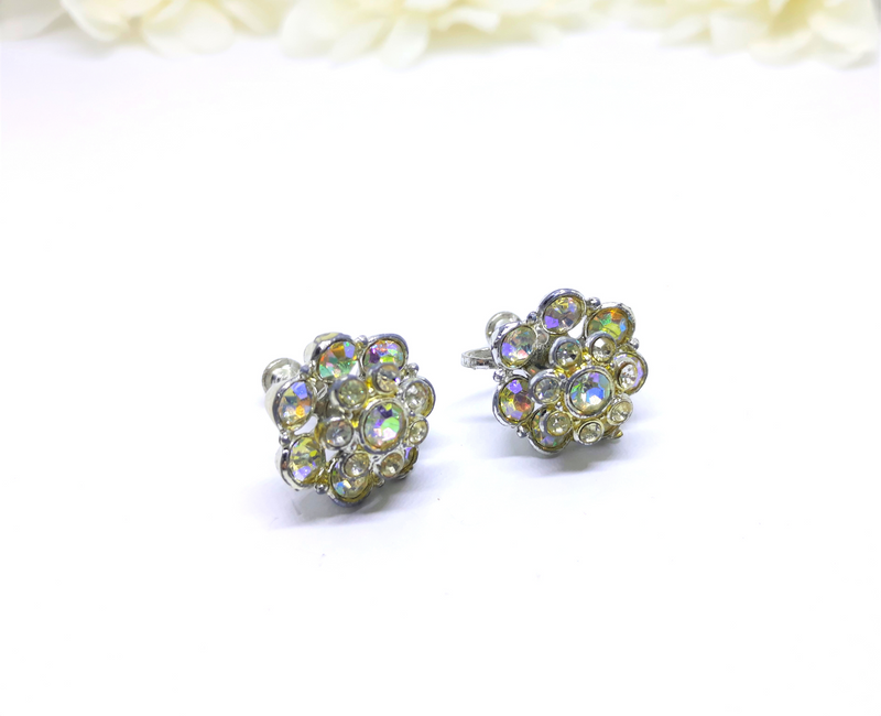 Stunning Aurora Borealis Floral Screwback Earrings, 1950s/1960s